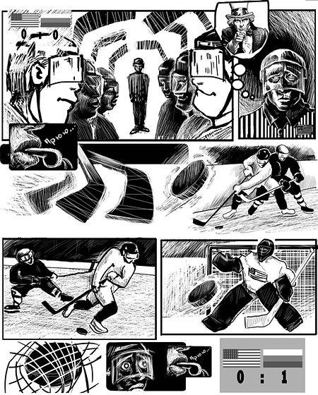 Авторский комикс о матче США - Россия в Сочи 2014