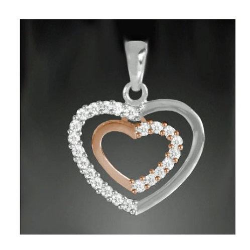 925 Silber Anhänger Herz Rosé vergoldet mit oder ohne Kette