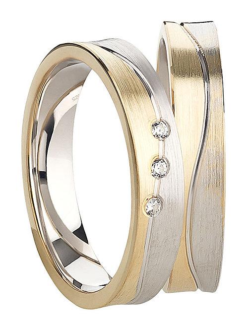 Ringe Silber925 Gold plattiert mit Zirkonia - rhodiniert