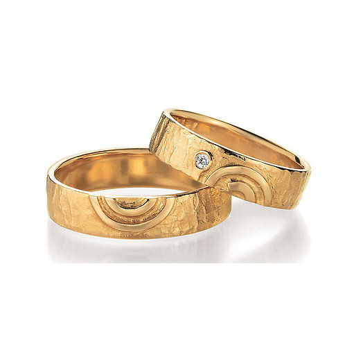 Paar Eheringe Verlobungsringe Symbolringe in Gelb - Weissgold Diamant Spirale
