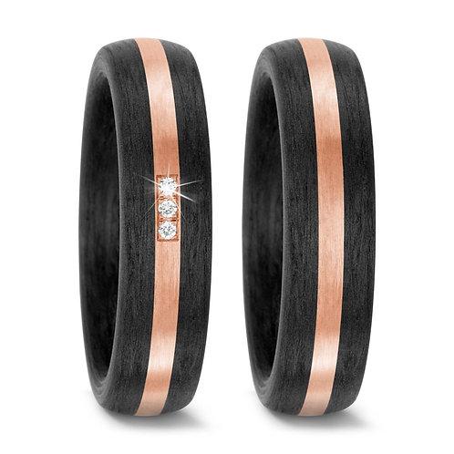 Ringe aus Carbon/585 Gold mit Brillanten