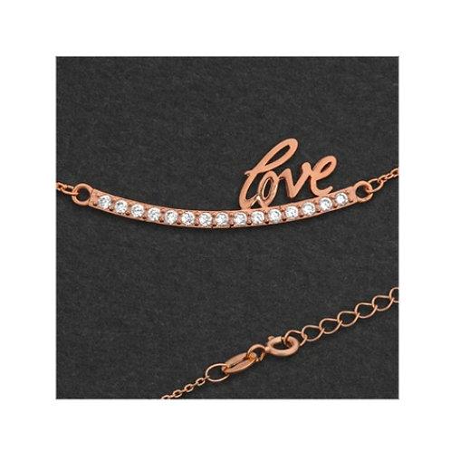 925 Silber Collier mit Zirkonia Love , Gold Rosegold und Silber