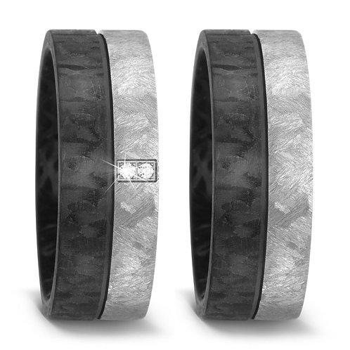 Ringe aus Carbon/Titan mit Brillant