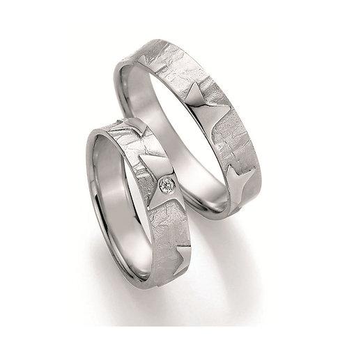 Paar Eheringe Verlobungsringe Partnerringe in Silber Diamant Stern Symbolring