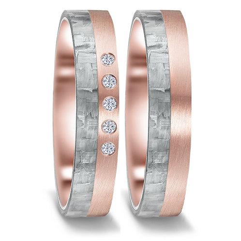 Ringe aus Carbon/750 Gold mit Brillanten
