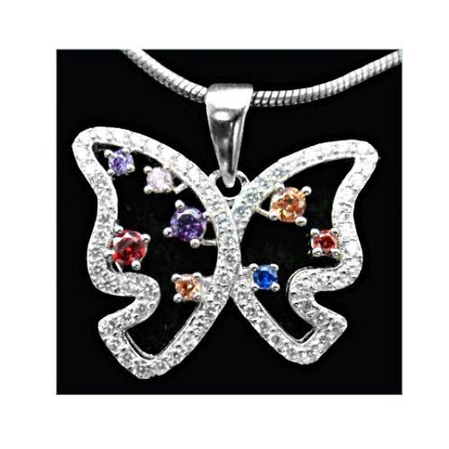 925 Silber Anhänger Schmetterling Rhodiniert mit od. ohne Kette