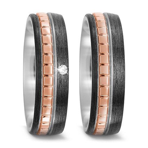 Ringe aus Titan/Carbon/750 Gold mit Brillanten