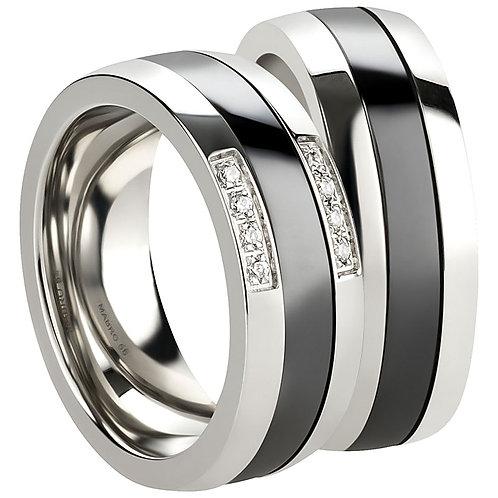 Paar Ring Freundschaftsring Partnerring Verlobungsringe Edelstahl/Ceramic