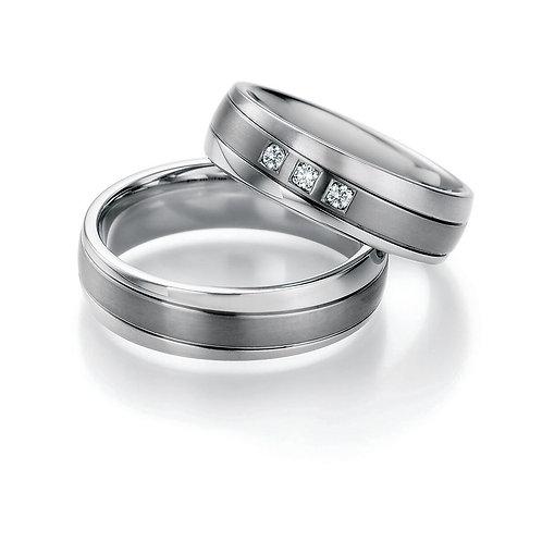 Ring Eheringe Verlobungsringe Partnerringe Titan/Steel mit Diamant