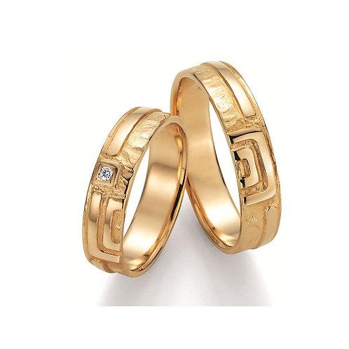 Paar Eheringe Verlobungsringe Symbolringe in Gold mit Diamant, Mäander