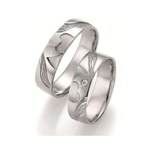 Paar Eheringe Verlobungsringe Partnerringe Silber Diamant Doppelherz Symbolring