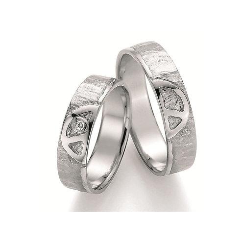 Paar Eheringe Verlobungsringe Partnerringe in Silber Diamant Peace Symbolring
