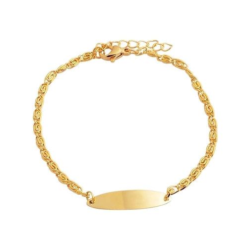 Edelstahl Armkette PVD Gold für Damen mit kostenloser Gravur