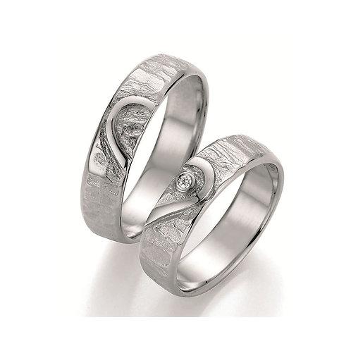 Ehering Partnerring Verlobungsring Silber mit Diamant Herz Symbolring Silberring