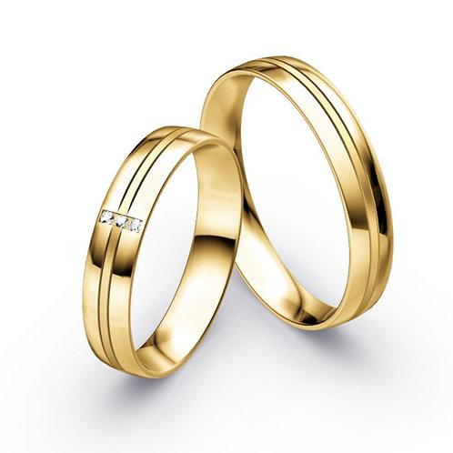 Paar Eheringe aus Gelbgold oder Weißgold mit Brillant