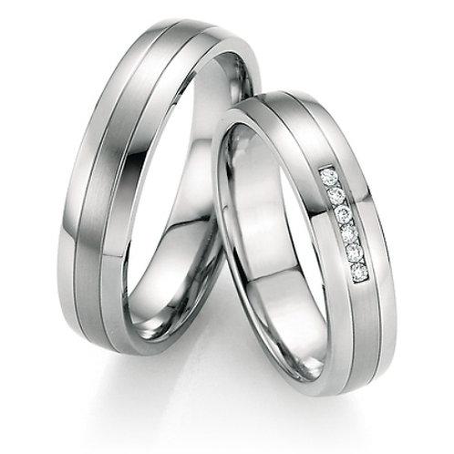 Hochzeitsringe  aus Steel 316L mit Diamant