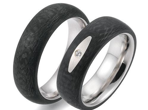 Edelstahl / Carbonringe mit Diamant oder Zikonia