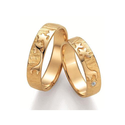 Paar Eheringe Verlobungsringe Symbolringe in Gelb - Weissgold Diamant Lebensbaum