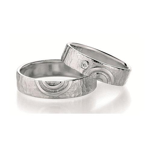Paar Eheringe Verlobungsringe Partnerringe in Silber Diamant Spirale Symbolringe
