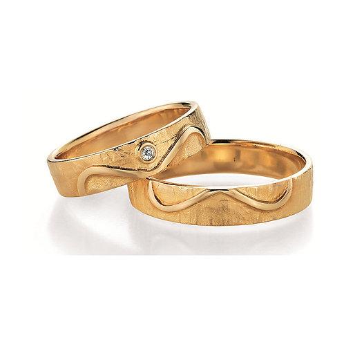 Paar Eheringe Verlobungsringe Symbolringe in Gelb - Weissgold Diamant Unendlich