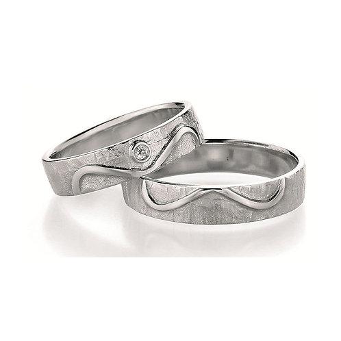 Paar Eheringe Verlobungsringe Partnerring Silber Diamant Unedlichkeit Symbolring