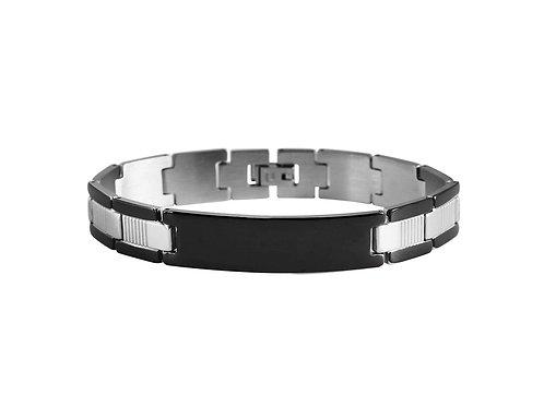 Armkette aus Edelstahl Schwarz IP + Grav
