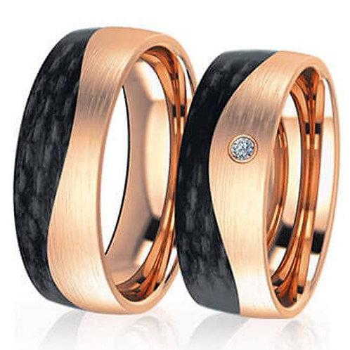 Ringe aus Carbon/333 Gold mit Brillanten