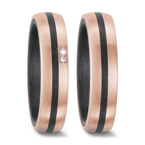 Ringe aus Carbon/Titan mit Diamant