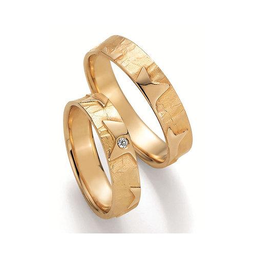 Paar Eheringe Verlobungsringe Symbolringe Gelbgold Weissgold mit Diamant Stern