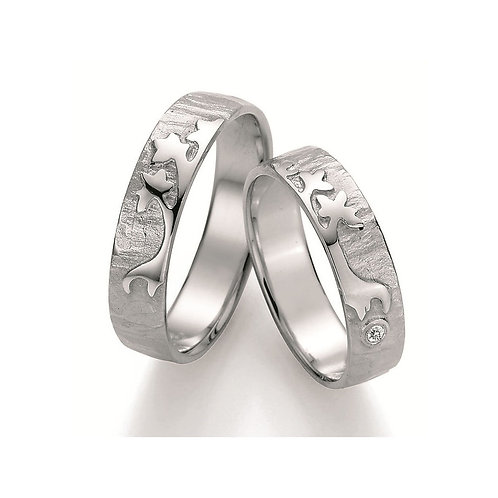 Paar Eheringe Verlobungsringe Partnerringe Silber Diamant Lebensbaum Symbolring