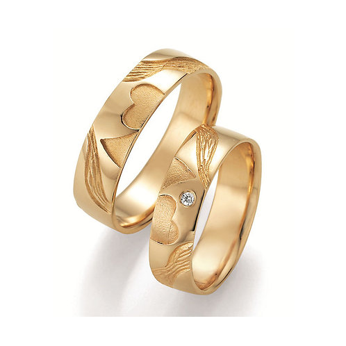 Paar Eheringe Verlobungsringe Gelb/Weissgold Diamant Doppelherz Symbolringe