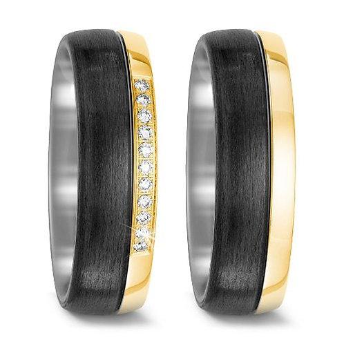 Ringe aus Carbon/Titan/750 Gold mit Brillanten