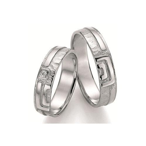 Paar Eheringe Verlobungsringe Partnerringe in Silber Diamant Mäander Symbolringe