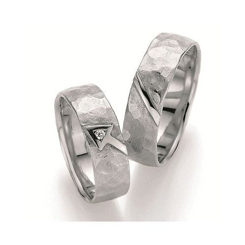Paar Eheringe Verlobungsringe Partnerringe in Silber mit Diamant Amor Symbolring
