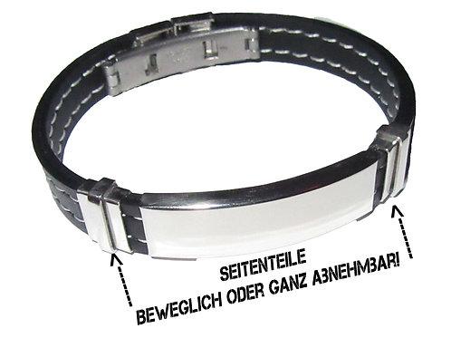 Armreif Armkette Gravurarmkette Armband mit Gravur Kautschukband Schilderarmband