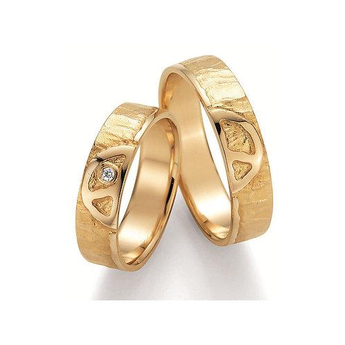 Paar Eheringe Verlobungsring Partnerring Gelb/Weissgold Diamant Peace Symbolring