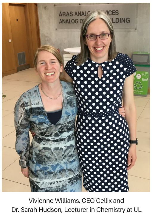 wearecellix CEO Vivienne Williams and Dr. Sarah Hudson, a lecturer in Chemistry at University of Limerick