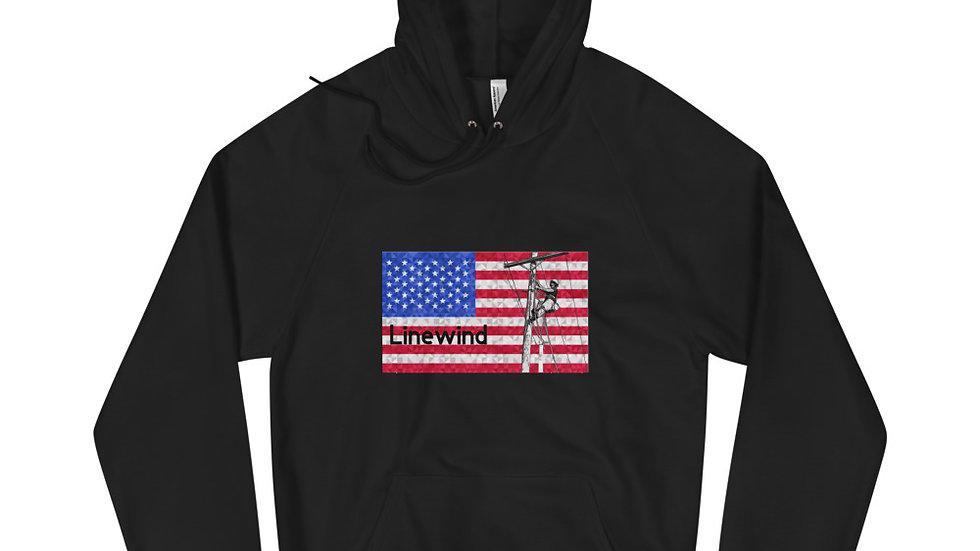 Fleece Hoodie American Flag Climber