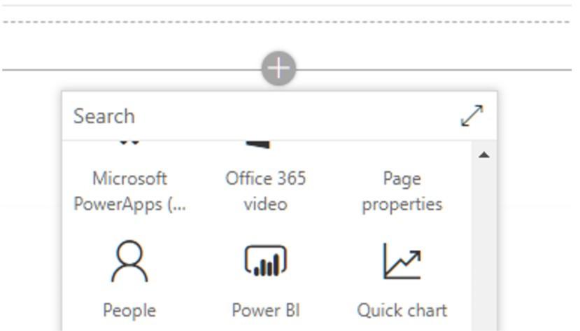 List of web parts screenshot
