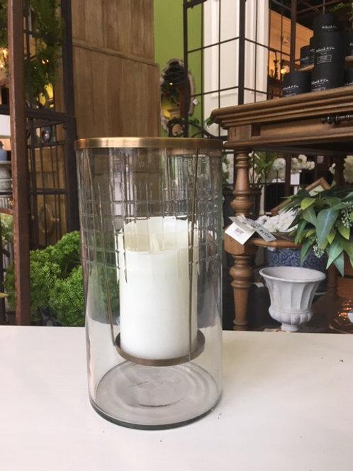 Etched Glass W/ Brass Pillar Holder