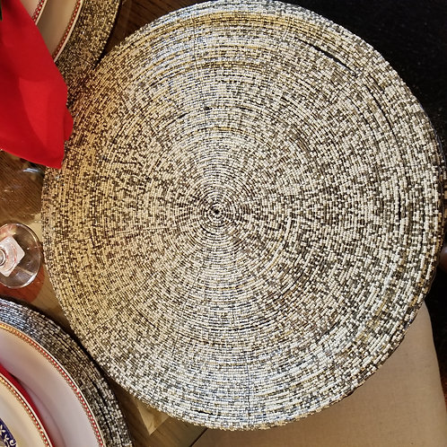 Silver and Pearl Beaded Placemat