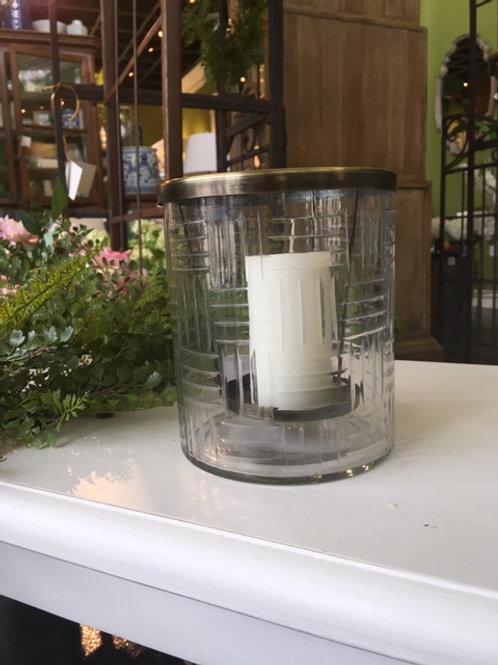 Etched Glass Pillar Holder W/ Brass