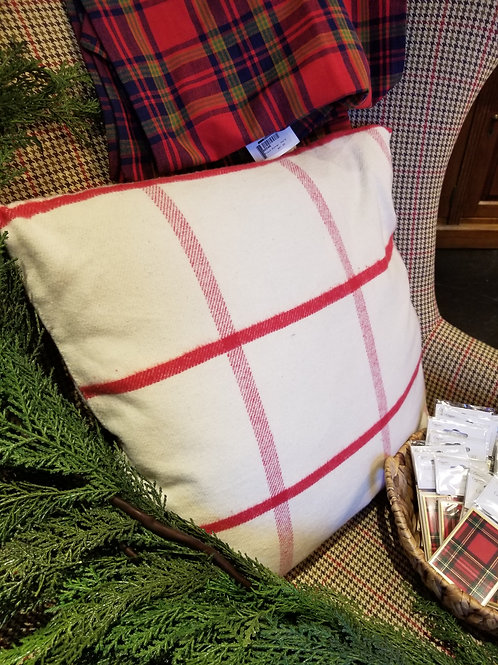 "20"" Square Red and White Cotton Pillow"