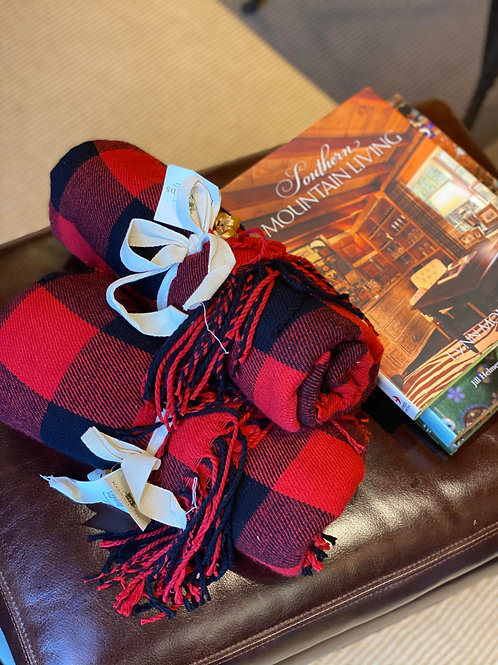 Red and Black Plaid Throw