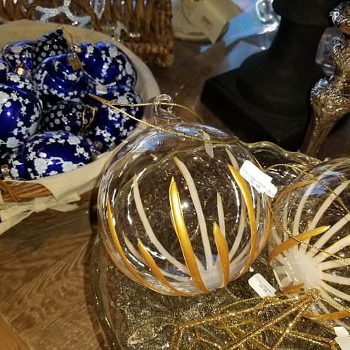 Clear Glass and Gold Stripe Ornament