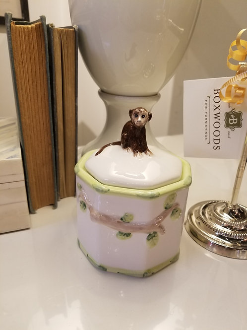 Handpainted Chinoiserie Jar with Lid.