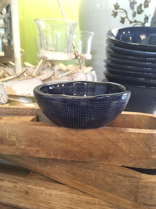 "4"" Round Blue Stoneware Bowl"