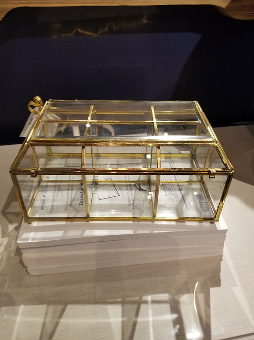 Glass and brass divided box
