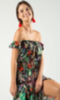 Alma Spring Collection, Off Shoulder Floral Maxi Dress, Black