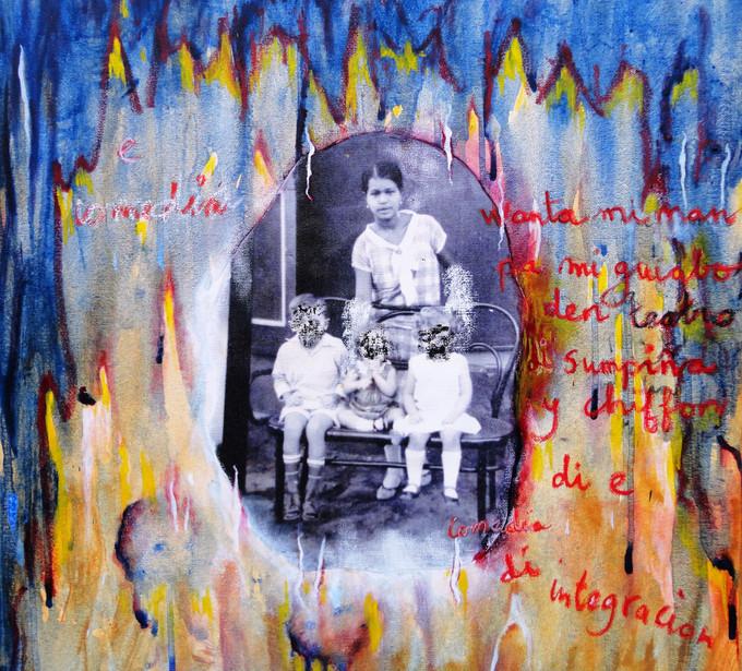 E-Comedia-di-Integracion-(The-Comedy-of-Integration)-Acrylic-and-oil-on-canvas-50cm-x-50cm